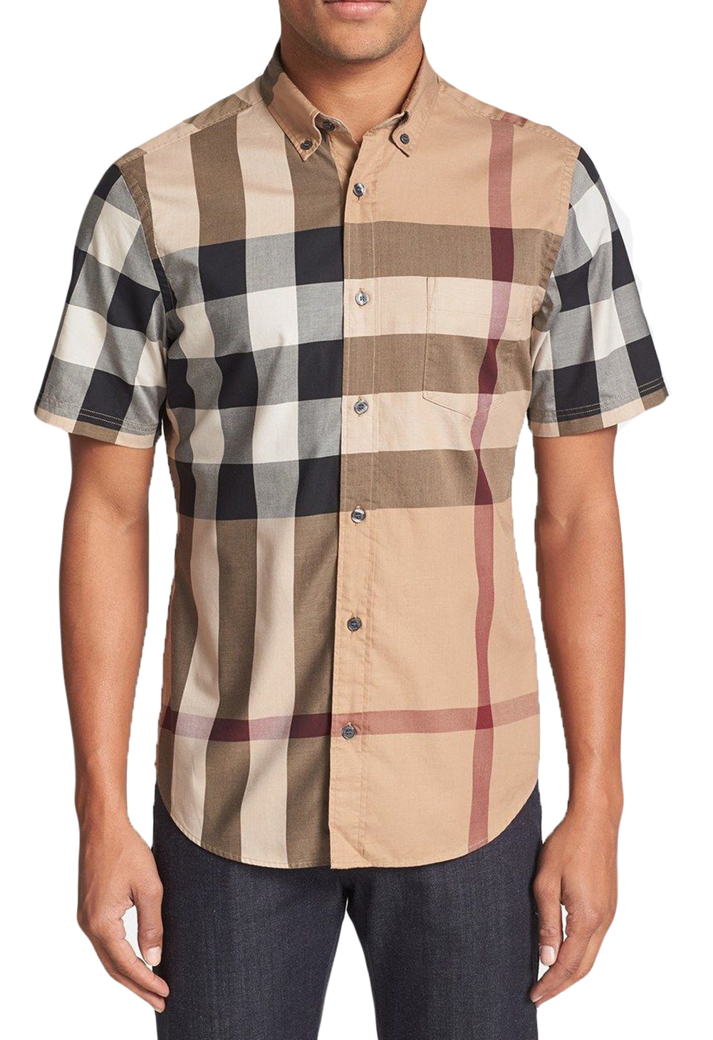 Burberry brit men 39 s fred check short sleeve shirt 275 new for Burberry brit green plaid shirt