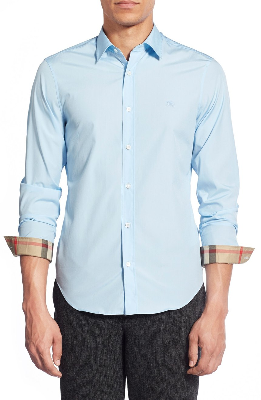 Burberry brit men 39 s henry slim fit dress shirt 250 new ebay for Boys slim fit dress shirt