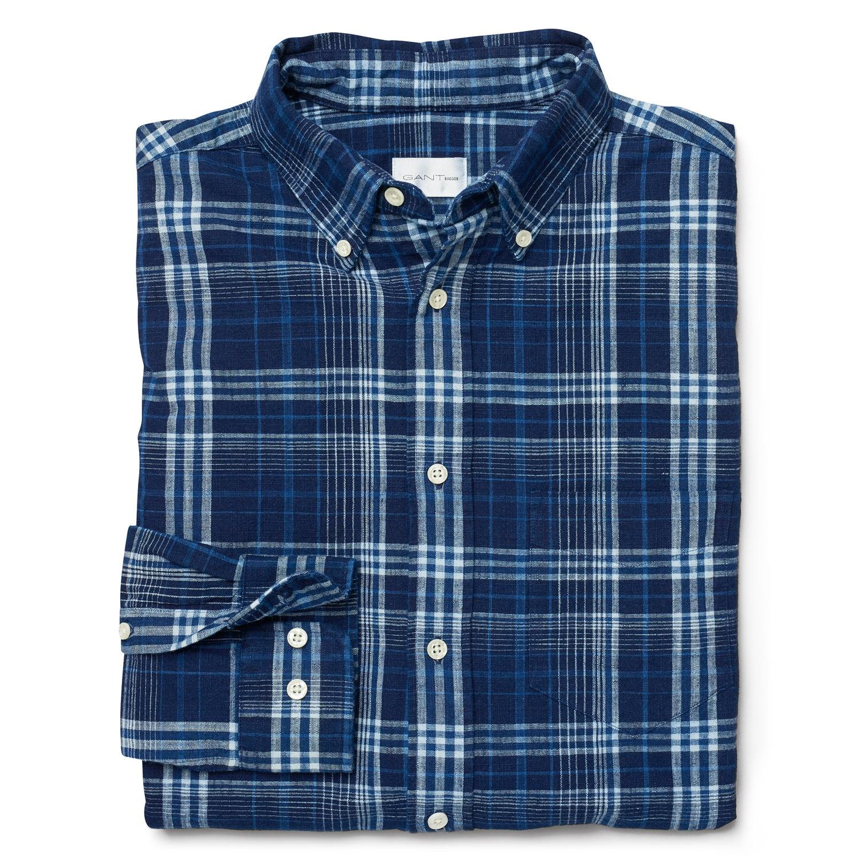 uudet alhaisemmat hinnat yksinoikeudella käsitellään hyvä palvelu Details about GANT Rugger Men's Dark Indigo Slim Fit Check Shirt 341169  $125 NWT