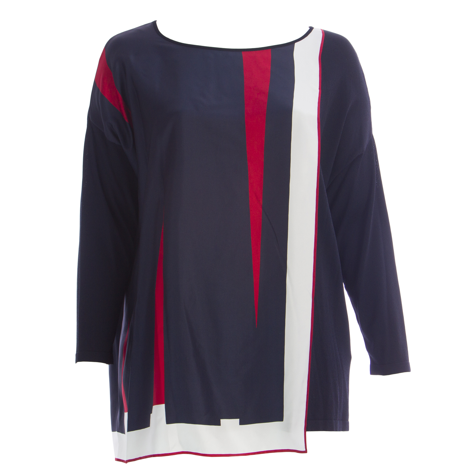 MARINA RINALDI Women/'s Navy Arte Silk Panel Sweater $745 NWT