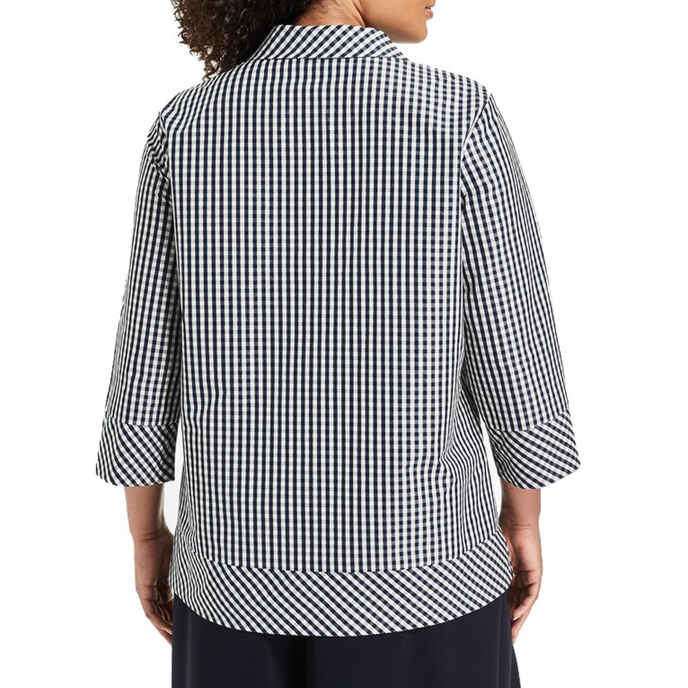 MARINA RINALDI Women/'s Navy//White Belinda Check Blouse $355 NWT