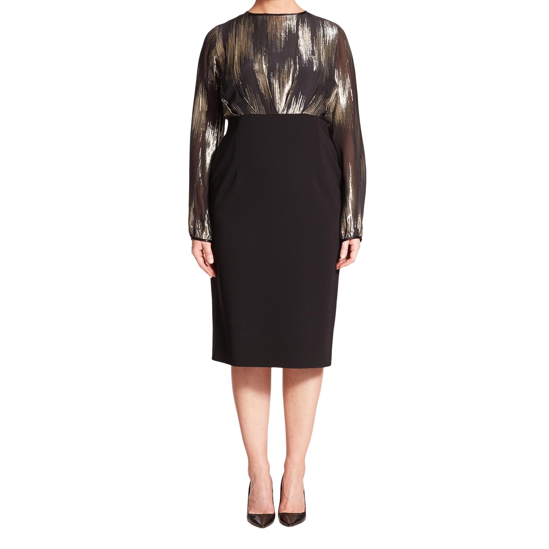 ade8a5c52cd MARINA RINALDI Women's Black Dittico Metallic Detail Dress 14W / 23 $1085  NWT