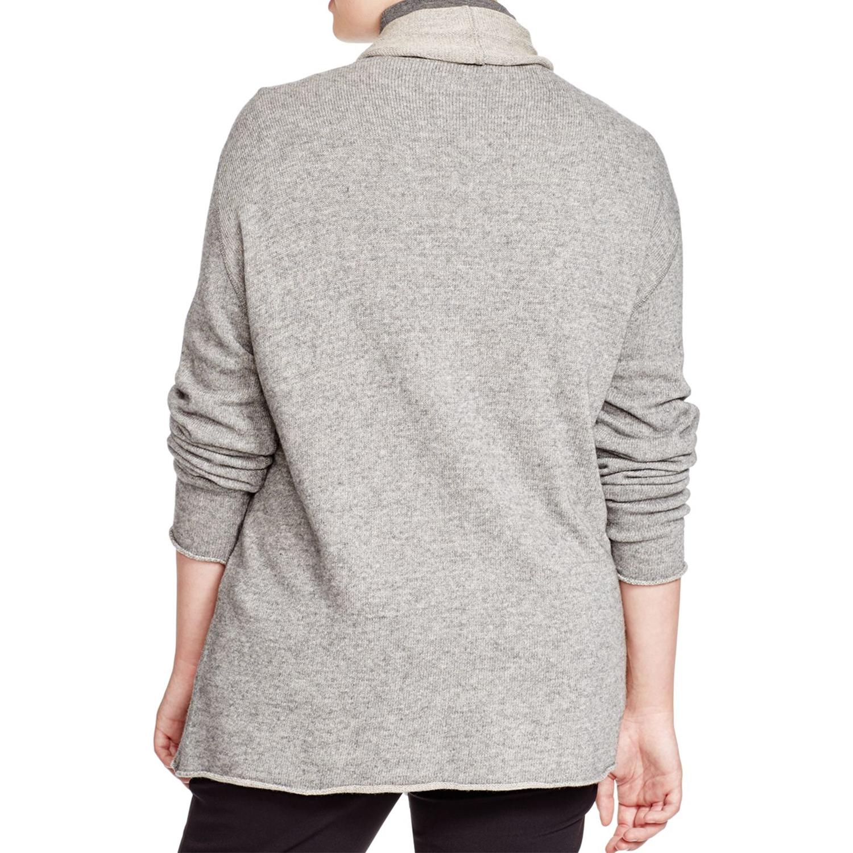 MARINA RINALDI Women/'s Grey Master Roll Collar Cardigan $370 NWT