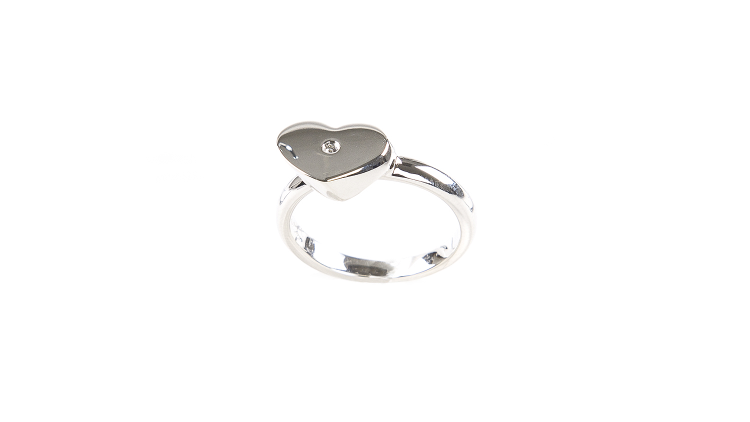 925 Silver Black Diamond Heart Ring Taille 8