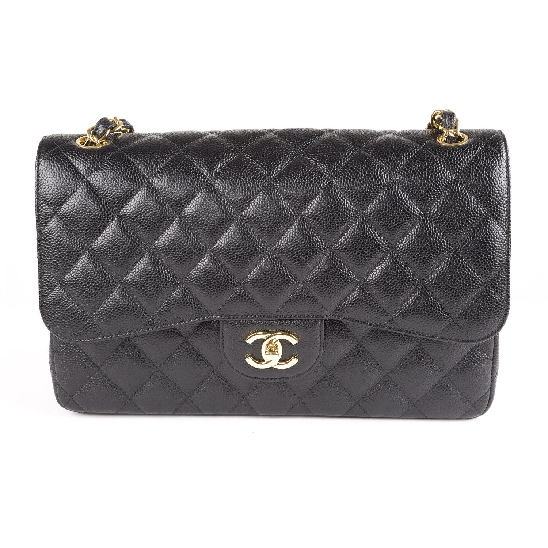 4719ccc8c2eae2 CHANEL Black Caviar Leather Jumbo Classic Flap Bag Gold Hardware $6,200 NEW