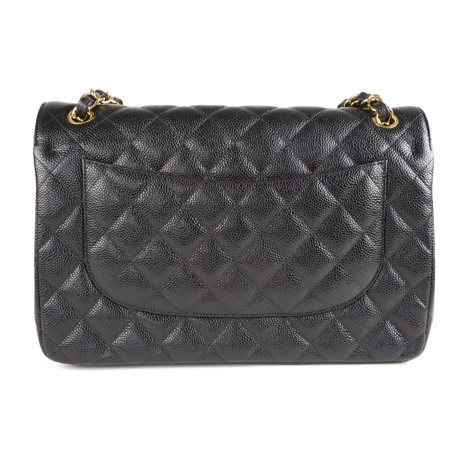 716273df2418 CHANEL Black Caviar Leather Jumbo Classic Flap Bag Gold Hardware $6,200 NEW