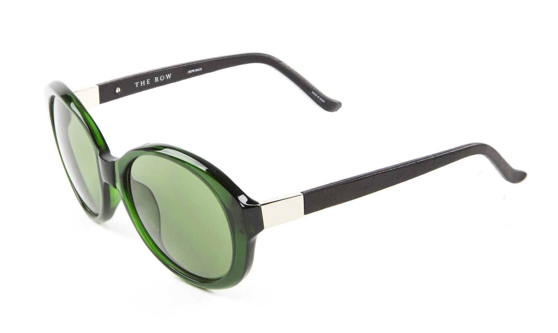 6e51488b6de5 LINDA FARROW Women s Bottle Green Jackie-O Acetate Sunglasses 34C8 ...