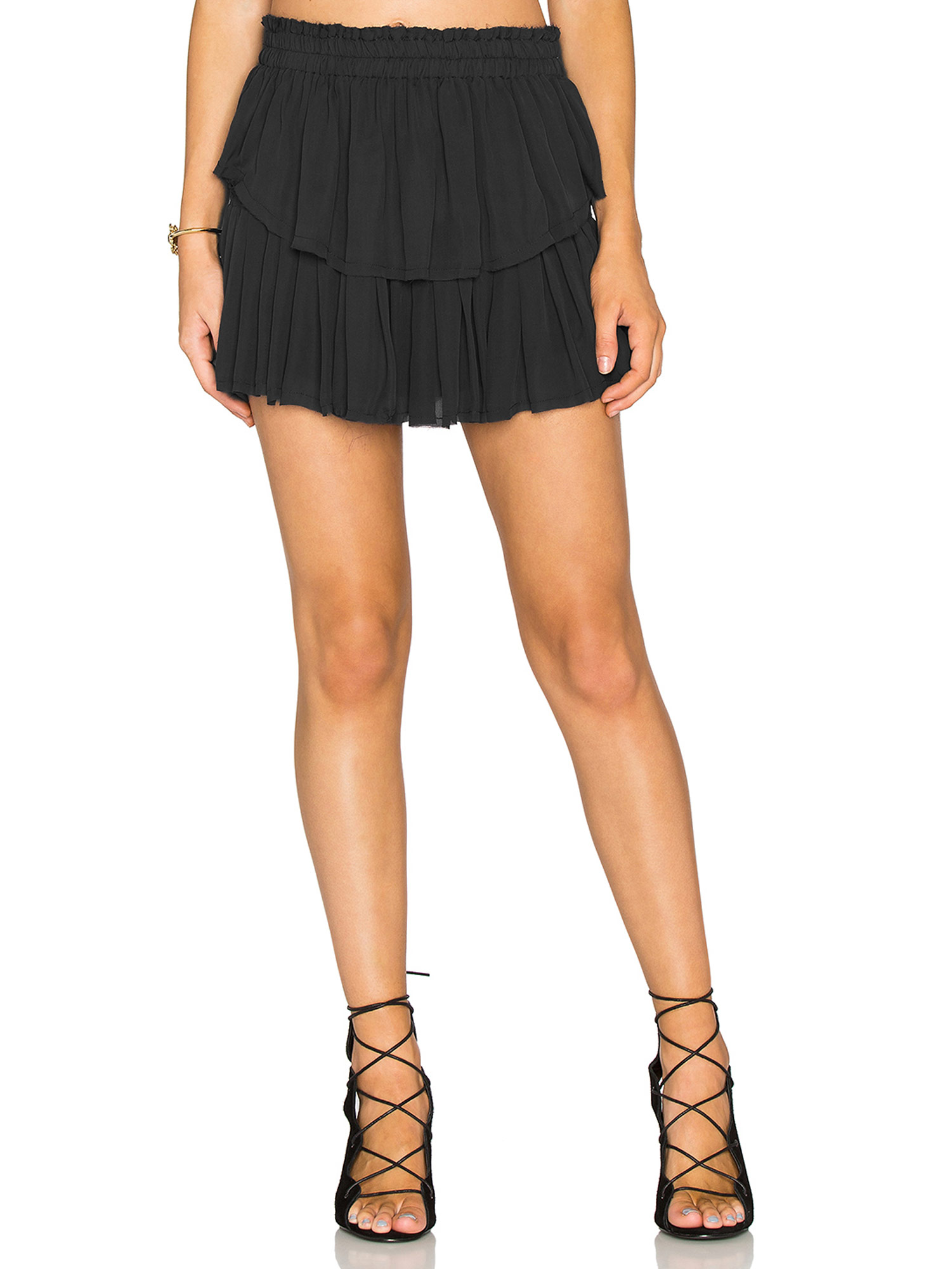 724c13bb6c LOVESHACKFANCY Women's Washed Black Ruffle Mini Skirt Sz 0/XS $295 NWT