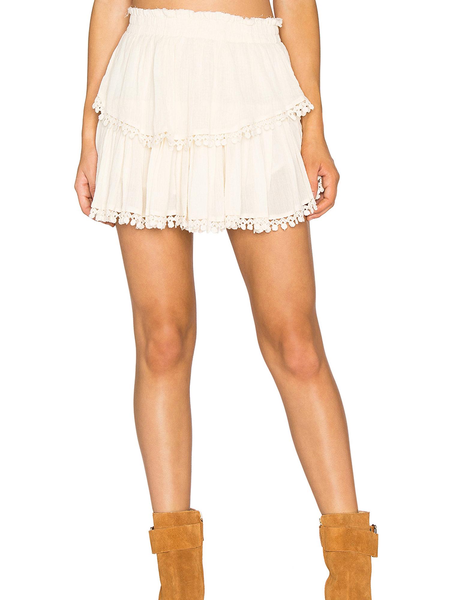 f86d0194b LOVESHACKFANCY Women's Dahlia Cotton Crepe Ruffle Mini Skirt Sz 1/S $198 NWT