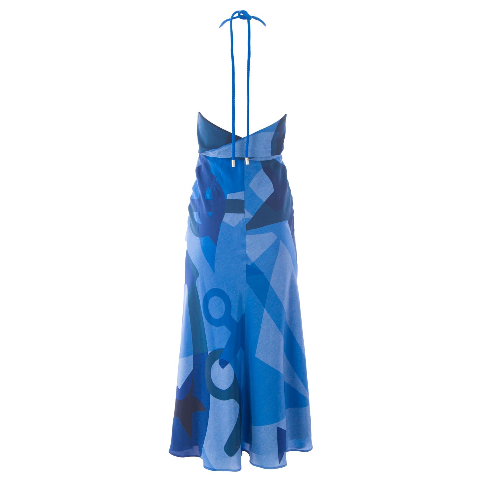 17103425f334d2 MAX MARA Women s Delia China Blue Halter Top Maxi Dress Sz 4  1