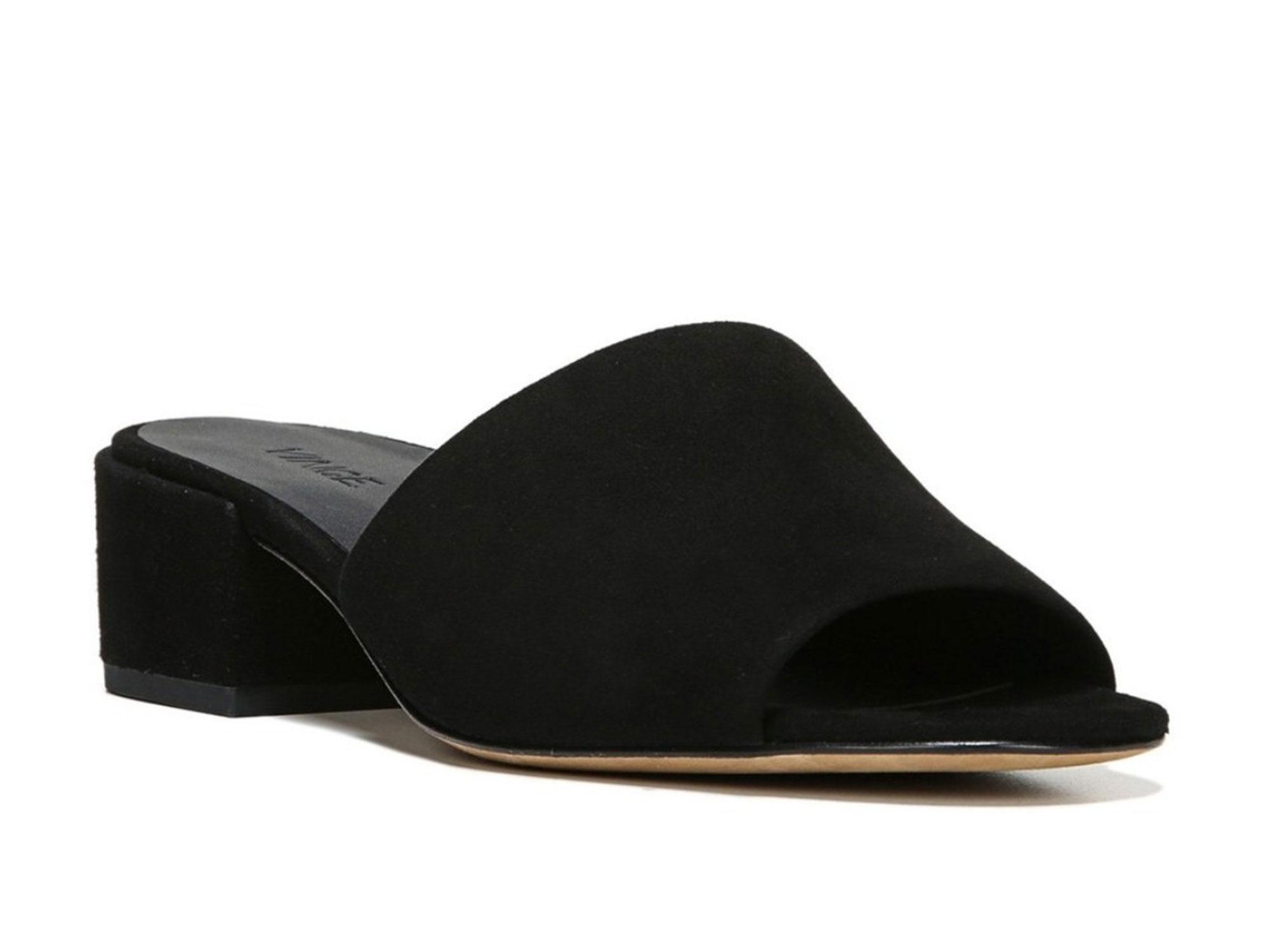 8fec7aacf16 VINCE Black Rachelle-2 Suede Slide Sandals E7815L2 Sz 5.5  275 NEW
