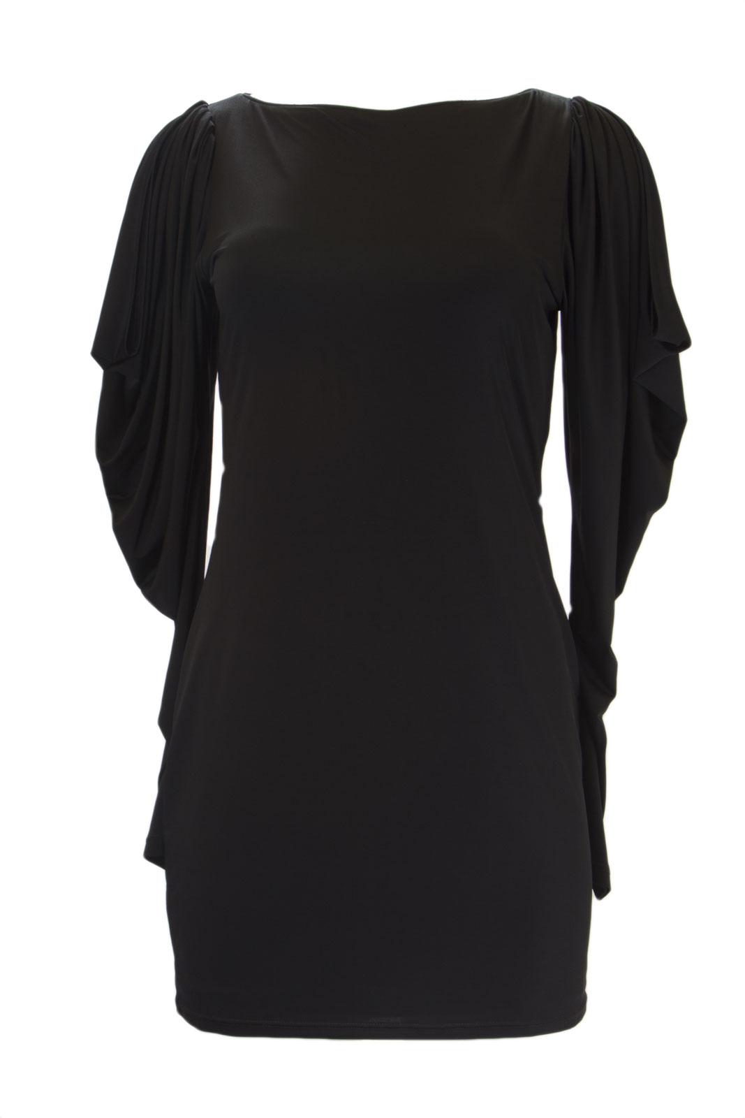 f12036f9a91 ANALILI Women s Black Long Cut Out Sleeve Sheath Dress 1070R31 Sz M  265 NWT