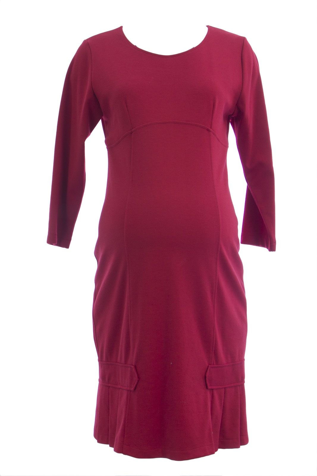 Olian maternity womens pleated hem accent 34 sleeve dress s red picture 2 of 3 ombrellifo Choice Image