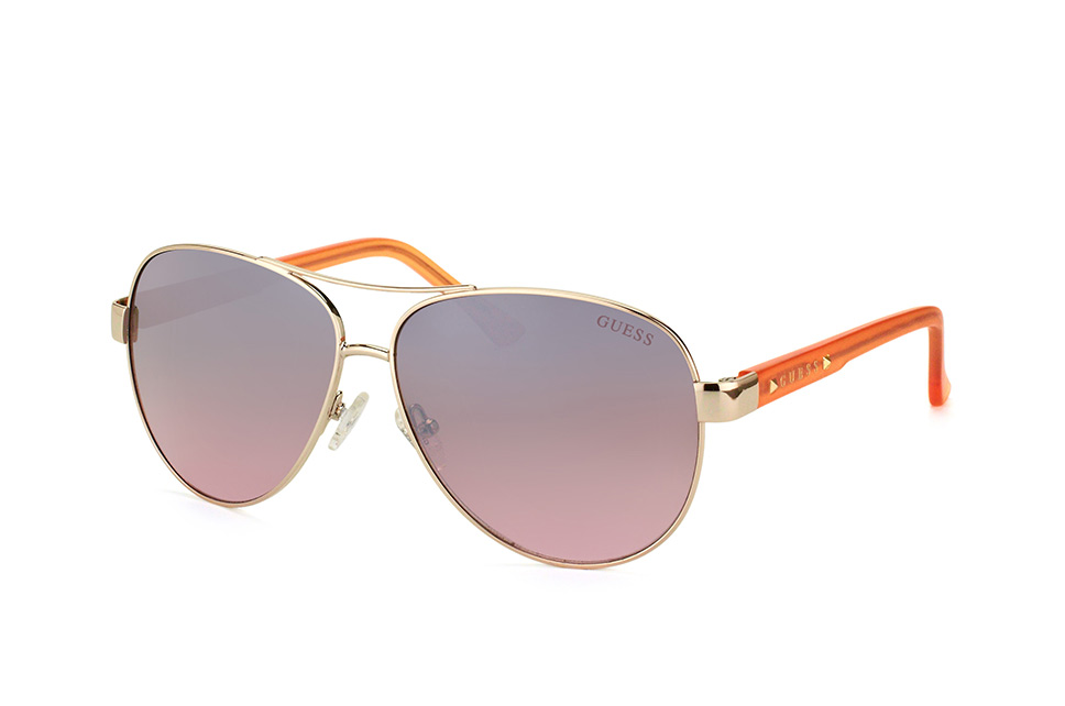 c0641e2a0f87f GUESS Women s Peach Aviator Sunglasses w  Stud Accent  79 NEW ...