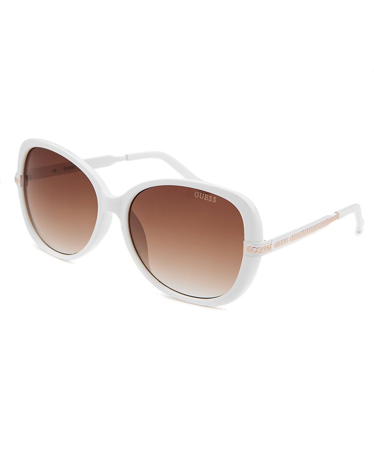 38636a3f9fe GUESS Women s Full Rim Round Chainlink Accent Sunglasses - White  78 ...