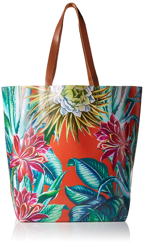 MARA HOFFMAN Cactus Floral Poppy Vinyl Tote Bag 91600 $172 NEW