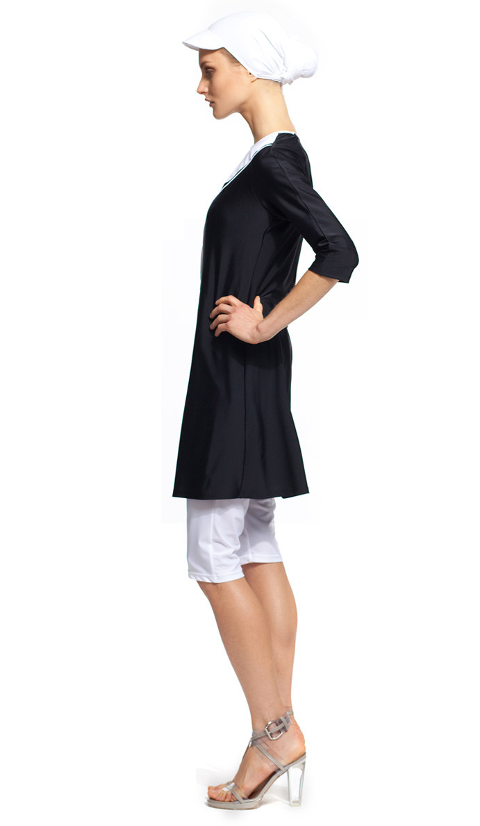 1a20c8e16f1bbe MODEST SEA Daniella Black & White 2-Pc Swimsuit Burkini Sz S 11014 $177 NEW