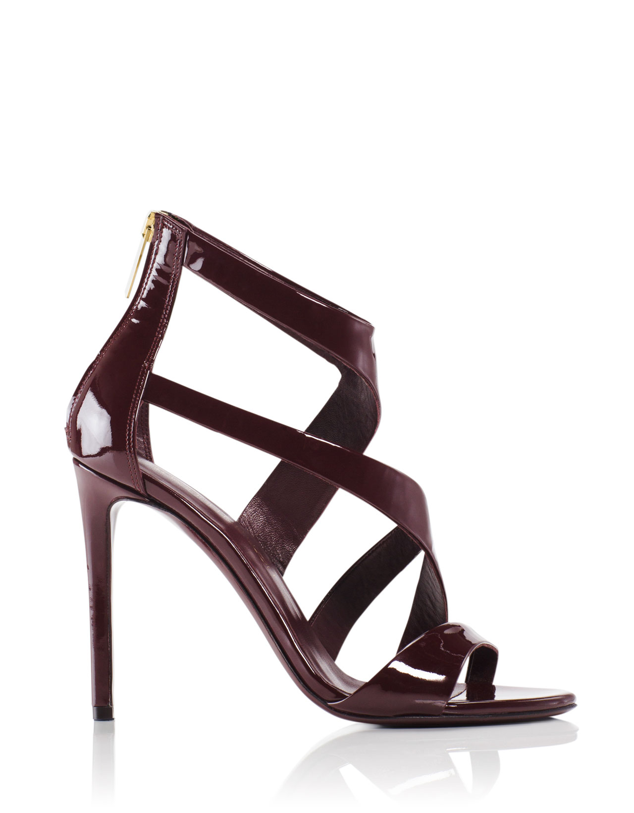 d3f362bd63f Tamara Mellon Tiger Burgundy Patent Sandals 105MM Heels US 6.5 EUR 36.5  795