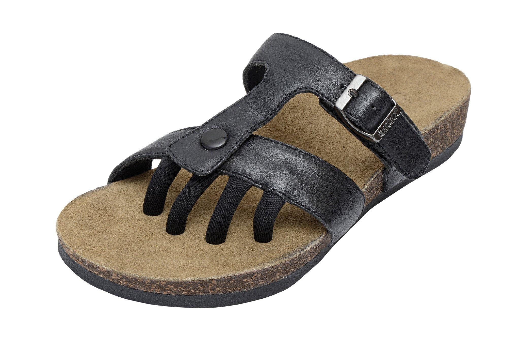 549dcadefa86 WELLROX Women s Black Nappa Santa Fe Sedona Toe-Separator Wellness Sandals  Sz 6