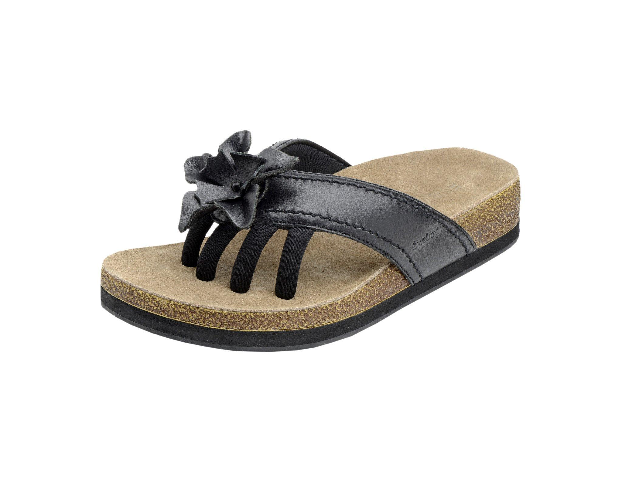 fbcaffc27568 WELLROX Women s Black Terra Chloe Toe-Separator Wellness Sandals Sz 10 NEW